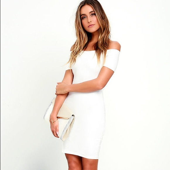 cae2558441e Lulu s Dresses   Skirts - ME OH MY WHITE OFF-THE-SHOULDER BODYCON DRESS
